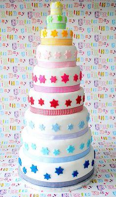 rainbow star cake A starcake ! Un gâteau-étoile !