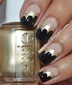heartNAT: Nude, Gold, and Black Clouds nail art #nails