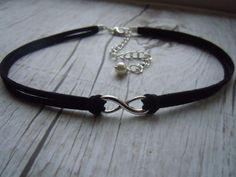 Infinity Choker Necklace Black Faux Suede by BohemienneBelle, $9.00