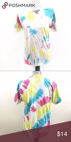 """Neon tie dye v neck shirt Pit to pit 18.5"""" Sleeve 7"""" Shoulder 15.5"""" Length 26""""  # can be used for Halloween costume ideas Tops Tees - Short Sleeve"""