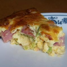 Low Carb Ham and Broccoli Quiche with Cheese