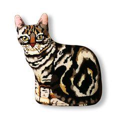 Needlepoint cat canvas Grey Tabby front by ADragonsTaleDirect Cute Cushions, La Jolla, Felt Animals, Fiber Art, Needlepoint, Sewing Crafts, Needlework, Tapestry, Embroidery