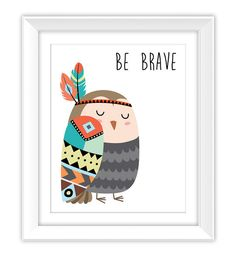 Be Brave Tribal Bird Art Print Printable Bird by ColorLab2016