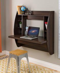 Espresso Floating Storage Wall Desk