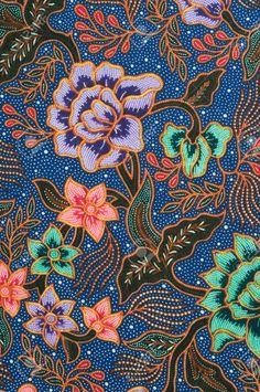 Detail of batik pattern with lavender and green flowers Stock Photo Textile Patterns, Textile Design, Textiles, Phone Wallpaper Boho, Malaysian Batik, Red Heart Tattoos, Batik Solo, Indonesian Art, Batik Art