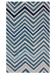 Blue Chevron Hand-Hooked Rug by nuLOOM on Gilt Home