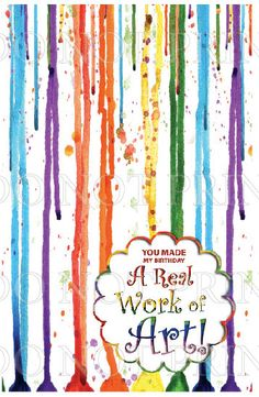 Paint Party Folded THANK YOU // Art Party // Paint Brush Strokes // Splatter //  Printable