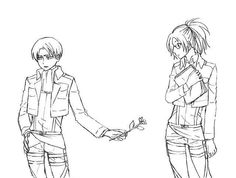 Levi and Hanji - I don't ship them. But I do think that they can have their sweet moments.