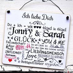 Kfz Kennzeichen Hochzeitsschilder Namen mit Eheringen just married Herzen
