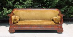 Striking Flamed Mahogany Classic American Empire Sofa~ circa 1840 #Empire