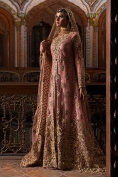 Pakistani designer bridal dresses in tea pink color fully embellished. Pakistani designer bridal dresses fully designed with gotta, zari, nagh and threads Pakistani Party Wear, Pakistani Bridal Dresses, Indian Dresses, Indian Bridal Outfits, Indian Bridal Wear, Lehnga Dress, Lehenga Saree, Bridal Dresses Online, Bridal Dress Design
