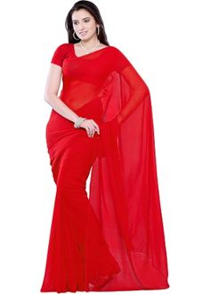 Diva Fashion Red Chiffon Saree at Rs 699 only(Homeshop18 offers) visit now http://buyoffers.in