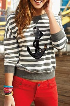 Gray and White Stripe Long Sleeves Anchor Print T-Shirt