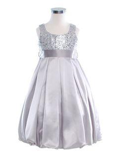 Silver Sequined Bodice Square Neck Flower Girl Dress - Flower Girl Dresses - GIRLS
