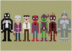 Finally one of the most beloved characters in comics is now a Pixel Person!  Ol webhead has been set upon by villains from day 1 and some of