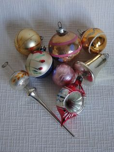 8 Mixed Vintage Christmas Baubles Glass by alltheseprettythings, £11.00I I have a collection of this type of ornament that were on my folk's trees in the early 1900s