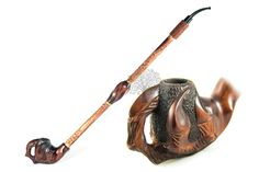 """Collectible Long Tobacco Smoking Pipe DRAGON CLAW 22"""" CHURCHWARDEN Author's carved pipe Hand carved pipes Decorated with Leather Wooden pipe by AccessoriesOfWood on Etsy"""