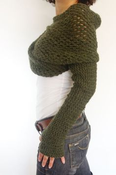 Crochet Pattern Wrap Around Thumb Holes Shrug/ Modern Chunky