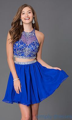 Short Homecoming Two Piece Dress 6060 at SimplyDresses.com