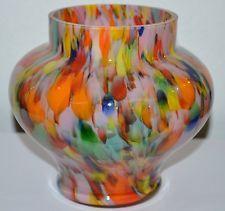 ART DECO MULTICOLOR GLASS VASE BOHEMIAN CZECH 1920´s