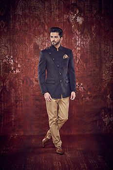 Love the Suede Achkan Style Designer Jodhpuri Suit from BenzerWorld!