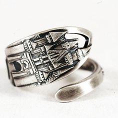 Disneyland Castle Souvenir Sterling Silver Disney Spoon Ring, Handcrafted & Adjustable Size (1554)