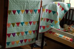 Bunting baby quilt, so cute!