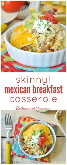 A lightened-up Mexican breakfast casserole with layers of corn tortillas, eggs, taco meat, and plenty of cheese! Perfect for breakfast, brunch, lunch, or dinner and easy to make in advance!