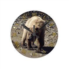 Walking Wild Grizzly Bear Wildlife Photo Wall Clock