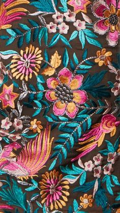 ♒ Enchanting Embroidery ♒ embroidered flowers with bead accents
