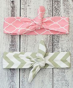 Look at this Ella's Bows Pink Quatrefoil & Gray Chevron Tie Headband Set on #zulily today!