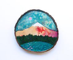 Mini original mountain landscape painting on by CathyMcMurray
