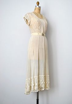 vintage 1930s sheer wedding dress with lace from Adored Vintage.