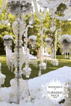 glass candelabra white ceremony styling and decorations