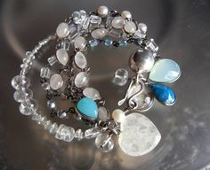 Multi Strand Rock Crystal Pearl Quartz Sterling Silver Boho Bracelet With Vintage Clover Luck Charm~<3<3