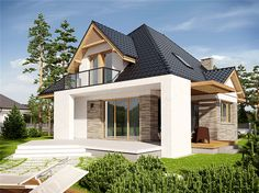 Find home projects from professionals for ideas & inspiration. PROJEKT DOMU AMIRA - stylowa elegancja i maksimum wygody! by Pracownia Projektowa ARCHIPELAG Modern Bungalow Exterior, Modern Bungalow House, Dream House Exterior, House Front Design, Modern House Design, Bungalow Renovation, Timber House, House Elevation, Village Houses