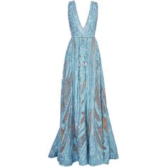 Elie Saab Embroidered Light Blue Double Silk Georgette Gown (943.340 RUB) ❤ liked on Polyvore featuring dresses, gowns, vestidos, light blue ball gown, beaded evening dress, beaded evening gowns, sheer dress and light blue dress