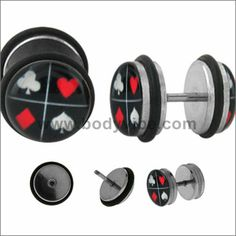 The 18 gauge fake plug barbells are made from stainless steel with external threading. The flaming dice logo is encased in a clear acrylic dome.