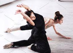 two dancers friends practice in dance studio. People Photos