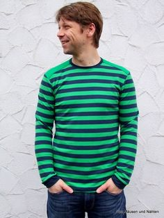 Men& patterns can also be found at farbenmix in the shop. More and more males . Business Outfit Herren, Diy Clothes, Dress Patterns, Men Sweater, Stripes, Shirts, Mens Fashion, Black And White, Sewing