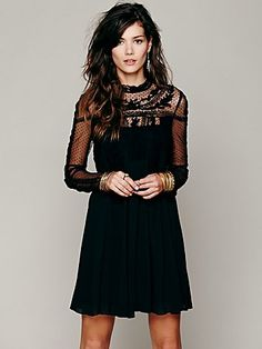 Write About Love Dress   Sheer black chiffon long-sleeved dress with embroidered detailing