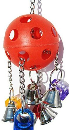 Spiffy bird products like this one are just what every bird needs in their lives.  A ball to rattle around with bells and other cool things to catch their attention.