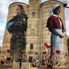The silo art trail is fast growing in popularity as the Australia's number one must do road trip. Start your Great Australian Adventure today. Urban Graffiti, Street Art Graffiti, Graffiti Artwork, Banksy, Chalk Drawings, Art Drawings, Anzac Soldiers, Art Du Monde, City Aesthetic