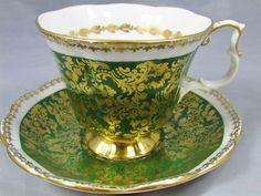 Royal Albert Buckingham Green Gold Chintz Tea Cup and Saucer: