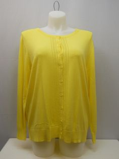PLUS SIZE 2X Womens Button Down Cardigan NORTHCREST Solid Yellow Long Sleeves #NorthCrest #Cardigan