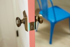 Non-permanent Pop of Color Fix: Add a fun element to your doors by putting colored tape on the interior trim. Honest to Nod Blog used an x-acto knife to get it just right. We think it's a fun, non-permanent detail to see when the door is open. #DIY #homeprojects #quickfix