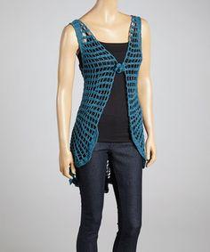 Jayli Blue Crocheted Vest by Jayli #zulily #zulilyfinds