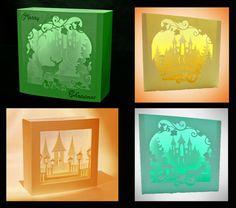 Schloss Thema Bündel Shadow Box Karten 4 Ausführungen