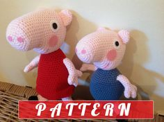 PDF pattern  Peppa Pig and George plush doll by LottiesCreations, £5.00