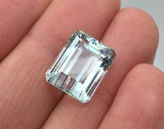 SUPERB LARGE LOOSE -EMERALD CUT- AQUAMARINE STONE- 18ct GOLD RING PENDANT BROOCH  | eBay
